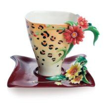 Franz Porcelain Jewels of Jungle Leopard Cup & Saucer - Cost $165.00  -  please click image for more info...