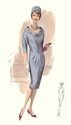 This is a slender column sheath dress, a style that had begun in the 1950s, but with visible elements that make it quite unique to the 1960s. The hairstyle is in the vogue of those after 1960. The dress rests on the knee, a post-1960 hemline feature, and is paired with stiletto-toe shoes. Three-quarter and elbow-length sleeves were a style feature from 1961 to 1963. Softer lines are also evident with bloused bodices. Via fashion-era.com