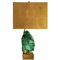 Bronze lamp with malachite stone, Willy Daro, Belgium,1970's