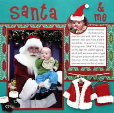 """I always love to see scrapbook stuff, but never seem to find the time. This online tutorial looks neat, though, from Michaels, showing you how to put everything together. Cute! """"Santa and Me Scrapbook Layout"""" workshop."""