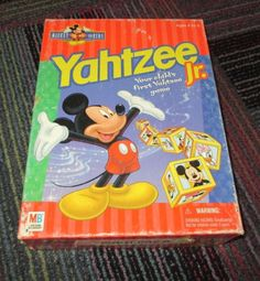 MILTON BRADLEY 1998 MICKEY MOUSE FOR KIDS YAHTZEE JR. GAME, AGES 4-6, GUC  #MILTONBRADLEY