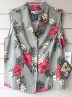 NEW! WOMENS petite MEDIUM HAVANA JACK'S CAFE sleeveless HAWAIIAN BLOUSE NWT! $34