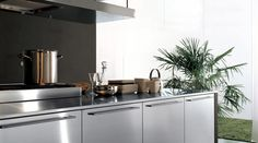 Stainless steel kitchens: versatility is the main characteristic of Free System by Euromobil. These doors can be easily combined with any Multisystem project solution thanks to their clean and rational design. Free system is presented with island arrangement and stainless steel doors.