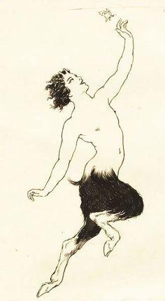 desenhos Norman Lindsay, visão, pena e tinta de um diário de 1923