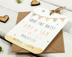 Pastel bunting save the date gem peach mint by normadorothy