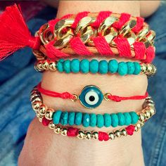 Set By Vila Veloni Red And Turquoise Stone Cute Bracelets