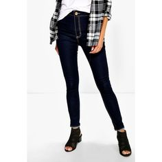 Boohoo Blue Helen High Rise Indigo Tube Jeans ($44) ❤ liked on Polyvore featuring jeans, indigo, white high-waisted jeans, boyfriend jeans, high-waisted jeans, high waisted ripped jeans and high-waisted skinny jeans
