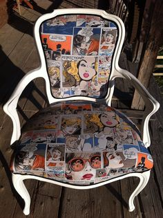 Fauteuil Lichtenstein Unusual Furniture, Funky Furniture, Furniture Makeover, Painted Furniture, Furniture Upholstery, Upholstered Chairs, Funky Chairs, Home Decoracion, Painted Chairs