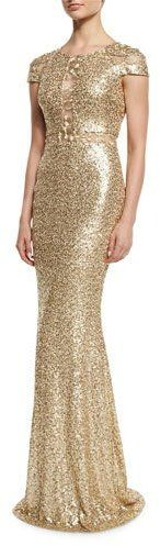 Badgley Mischka Cap-Sleeve Sequined Column Gown, Champagnehttps://api.shopstyle.com/action/apiVisitRetailer?id=540988210&pid=uid9424-36540632-97 Affiliate Link: