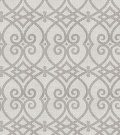 Bedroom curtain option Home Decor Print Fabric- Jaclyn Smith Gatework Rot Dove Gray at Joann.com
