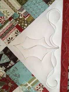 Holly and vines - machine quilting design by Christine Baker, Fairfield Road Designs