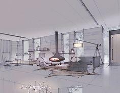 chen shilin on Behance Interior Design Sketches, Interior Rendering, Sketch Design, Architecture Drawings, Interior Architecture, Classical Architecture, Interior Presentation, Presentation Layout, Conceptual Sketches