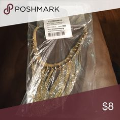 BOGO HALF OFF Gold collar necklace Gold choker with silver and gold strands hanging down, bundle this with another item and I will give you a great price ** if this item doesn't sell soon I will open it for pictures ** All jewelry buy one get one half off!! Jewelry Necklaces