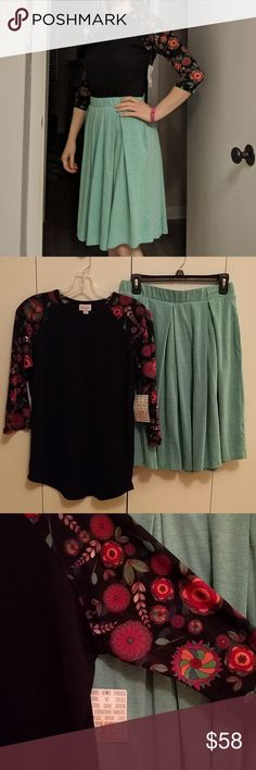 LuLaRoe Outfit! XS Randy & S Madison Adorable LuLaRoe outfit! Small green Madison skirt (with pockets!) and XS Randy tee. Randy had black body with floral sleeves and is very stretchy. Top is new with tags, skirt is new without tags. LuLaRoe Skirts A-Line or Full