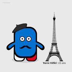 125 ans #eiffeltower #Paris #France #illustration #vector #artist #draw #drawing #designer #design #graphicdesign #graphics #disseny #dissenygràfic #dessin #cute #sticker #doodle #funny #monster #sketch #eiffel #Itsdesign