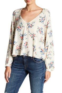 Lush - Floral V-Neck Long Sleeve Blouse