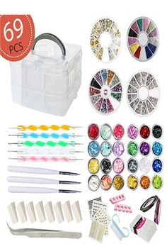 join now to get your gift AIFAIFA 69PCS DIY #Nail_Art_Tools Decoration Manicure Kit, #Glitter Nail Rhinestones, #Nail_Sticker Decal, #Nail_Sequins, #Ombré Sponge, Dotting Pen, Clean Brush, Nail Design Supplies Come with Gift Box Teenage Girl Gifts Christmas, Family Christmas Gifts, Christmas Fun, Christmas Desserts, Nail Art Kit, Nail Art Tools, Diy Nails, Glitter Nails, Gradient Nails