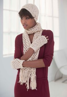 Winter is not entire over yet!  Keep warm on cold mornings with this crochet hat, scarf, and gloves set made with two balls of Heartland!