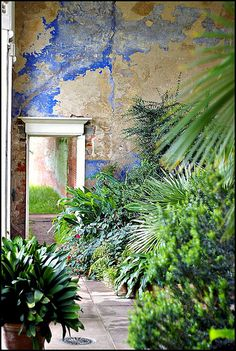 Fabulous walls - not sure if it is really age, or faux, but either way, it is wonderful. Calke Abbey gardens by FlickrDelusions, via Flickr