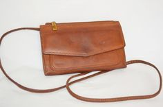 Fossil Tan Saddle Leather Wallet on A String Organizer Purse Shoulder Cross Body | eBay