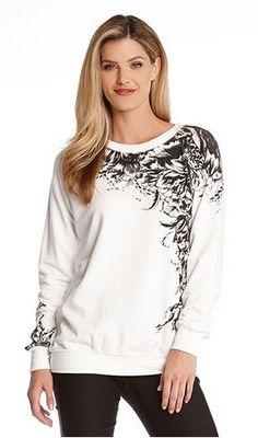 Black and White Blooming Flowers Sweatshirt Fashion #Black_and_White #Blooming #Flower #Sweatshirt #Top #Winter #Fashion