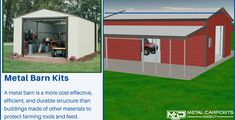 Metal kits provide you with a solution to protect equipment and feed. Save money and headaches with our metal barn prices in North Carolina, US. Metal Barn Kits, Metal Carport Kits, Metal Carports, Prefab Metal Buildings, Rv Shelter, Metal Building Kits, Steel Barns, North Carolina, Shed