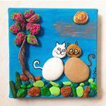 #love #tasboyama #elyapimi #handmade #cats #kedi #deniztasi #stonepainting #tuval #pebbyart