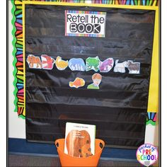 Book retelling pocket chart: students can retell the book using story/character cards to build reading comprehension. At listening center Kindergarten Centers, Kindergarten Literacy, Kindergarten Classroom, Literacy Activities, Preschool Library Center, Literacy Stations, Classroom Ideas, Literacy Centers, Preschool Books