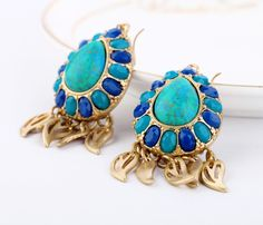 Stylish Turquosice And Royal Blue Dangle Earrings  - New In