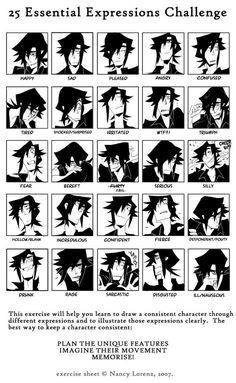 25 Expresiones esenciales para dibujar un personaje. « ▶ Neoverso