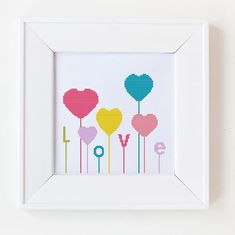 Counted cross stitch pattern, Instant Download, Free shipping, Cross-Stitch PDF; Hearts, love and baloons, valentine's day pattern
