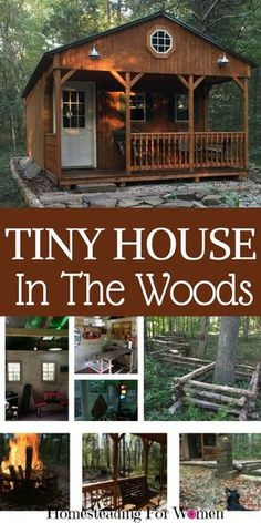 Tiny House In The woods -totally off grid that runs on 12 volt battery. Super Awesome!