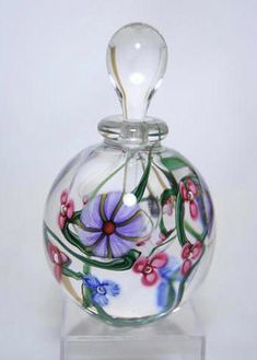 Morning Glory Floral perfume bottle ~ Roger Gandelman -- winding green vines, pretty pink & purple flowers with clear interior bubble. $ 165