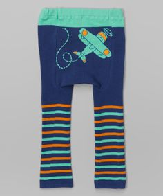 Look at this Navy & Green Stripe Plane Leggings - Infant on #zulily today! DoodlePants
