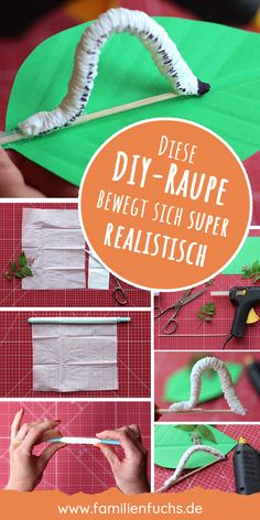 Realistische Raupe basteln – Kinderleicht und schnell This little caterpillar not only looks super realistic, it can also move lifelike. And the best thing about the whole thing is: The caterpillar you can tinker super easy. Caterpillar Craft, Very Hungry Caterpillar, Diy Craft Projects, Diy And Crafts, Paper Crafts, Easy Crafts, Easy Diy, Diy For Kids, Crafts For Kids