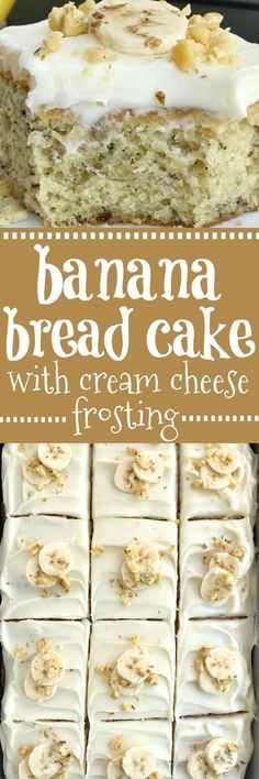 Banana Bread Cake w/ Cream Cheese Frosting | Banana Cake | Banana Desserts | Cream Cheese Frosting | Banana bread cake topped with a thick cream cheese frosting, and baked up perfectly in a 9x13 baking dish. So much banana flavor, so soft & moist, and just crazy delicious. Garnish with sliced fresh bananas and chopped walnuts for an amazing dessert! Together as Family