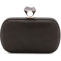 Diane von Furstenberg Powerstone Minaudiere ($244) ❤ liked on Polyvore featuring bags, handbags, clutches, black, kiss-lock handbags, real leather purses, kisslock purse, leather handbags and diane von furstenberg purses