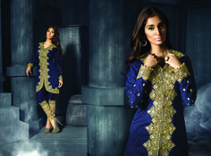 Design and trend will be on the peak of your beauty the moment you dresses this navy blue fancy fabric designer suit. This attractive attire is displaying some remarkable embroidery done with embroidered and resham work. Comes with matching bottom and dupatta. (slight variation in color, fabric & work is possible. Model images are only representative.)  #SalwarKameezSale #DiscountedSalwarKameez #EmbroideredSalwarKameez #BuySalwarKameez #OnlineSalwarKameezShop #SalwarKameezUK #SalwarKameezUSA…