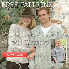 Free round nck, v neck, and collared sweater patterns