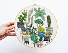 9 inch Hand Stitched Potted Jungle Modern by SarahKBenning on Etsy