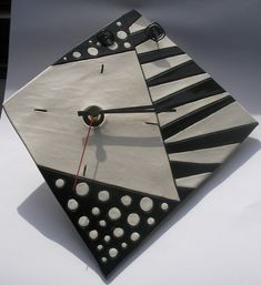 Beautiful ceramic wall clock - Geometric...Dots and Stripes.... €56.00, via Etsy.