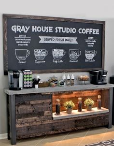 DIY Coffee Bar for the home. This industrial and rustic home coffee bar was designed and built to bring a coffee shop vibe to our breakfast nook! Free plans included to build your own coffee bar just like this one! Coffee Nook, Coffee Bar Home, Home Coffee Stations, Coffee Bars, Coffee Wine, Office Coffee Station, House Coffee, Coffee House Decor, Coffee Tables