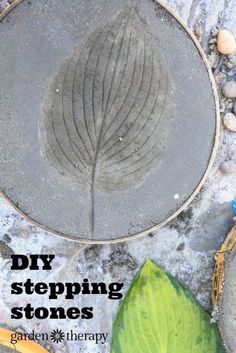 These concrete stepping stones are a true reflection of your garden when imprinted with leaves from the surrounding plants! These can be made in an afternoon and cost less than $2 each in materials, making them a thrifty yet beautiful garden DIY project. #garden #ad #ebay #concrete