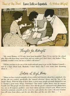 """Teens of Our Times - Love, Life and Lipstick"" by Helene Wright. Good Housekeeping, November 1957."