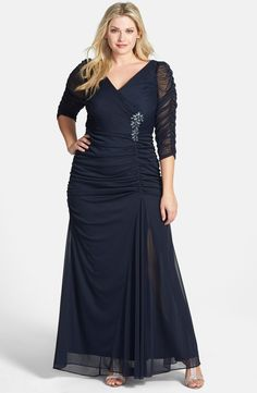 Main Image - Adrianna Papell Beaded Mesh Gown (Plus Size)