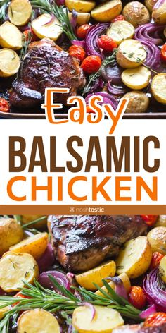 Balsamic Chicken with Roasted Potatoes, Red Onion, Tomatoes & Herbs Whole30 Dinner Recipes, Gluten Free Recipes For Dinner, Healthy Recipes, Whole 30 Chicken Recipes, Balsamic Chicken Recipes, Food Dishes, Main Dishes, Roasted Potatoes, Easy Dinners