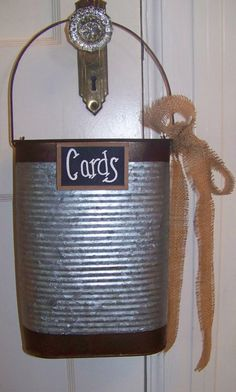 Rustic Galvanized Tin Wedding Card Bucket with by sugarplumcottage