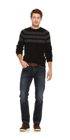 Men's Stripe Mohair Sweater in Blue from Joe Fresh. Medium