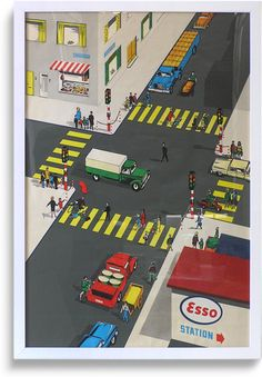 Rare 1950s promotional 'road safety' poster, Esso (5 of 6)