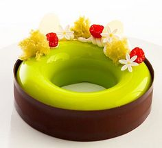 Pistachio, ivoire and Raspberry Entremet Photo by @juansilvaphotos mold by…